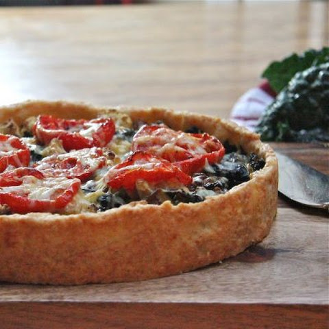 Kale and Cauliflower Tart with a Cheddar Crust
