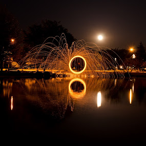 Full Moon Steel Wool by James Reil - Abstract Fire & Fireworks ( reflection, steel wool, long exposure, full moon, steel, wool )