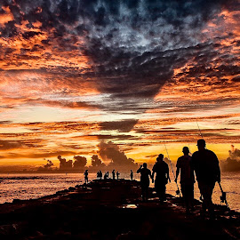 Snook Season (line up) by Etta Cox - Landscapes Sunsets & Sunrises ( sunrise sky clouds people ocean colorful )