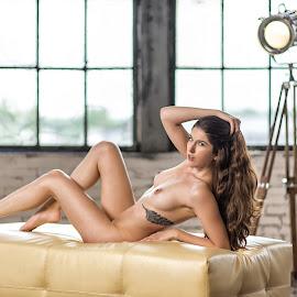 Breanna Marie 01 by Juan Irizarry - Nudes & Boudoir Artistic Nude ( nude, artisticnude, elegant, breasts, lamp, inked, feet, tattoo, ottoman, hair )
