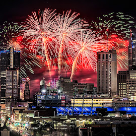 Freedom Festival Fireworks by Pat Eisenberger - City,  Street & Park  Skylines ( windsor, michigan, freedom festival, cityscape, detroit, skyline, fireworks )