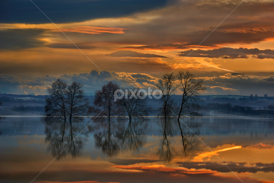 ------- by Dimitrios Lamprou - Landscapes Waterscapes ( sunset, trees, lake )