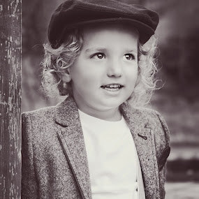 Jax's hat by Jenny Hammer - Babies & Children Children Candids ( child, black and white, vintage, cute, boy )