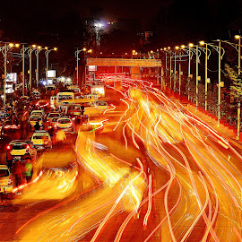 by Aaditya Yadav - City,  Street & Park  Night ( lights, red, traffic, trails )