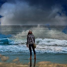 The beauty of the sea by Gerald Horgan - Landscapes Beaches ( clouds, ireland, europe, dingle, dingle peninsula, atlantic ocean, female, woman, beach, seascape, ocean view,  )