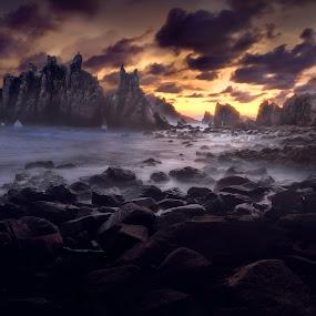 Company of Demons - Gigi Hiu by Jimmy Kohar - Landscapes Sunsets & Sunrises ( south sumatra, sunset, kelumbayan, lampung, gig hiu, coast )