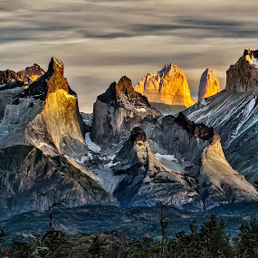 First light on Paine Massif by Daniel Schwabe - Landscapes Mountains & Hills ( torres del paine, chile, mountain, patagonia, cuernos del paine, sunrise )