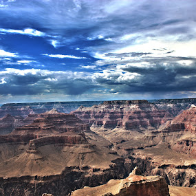 Colors of the Canyon by Josiah Blizzard - Landscapes Mountains & Hills ( clouds, blue sky, hdr, arizona, grand canyon )