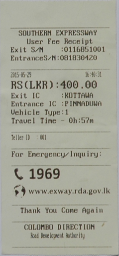 Highway toll charges