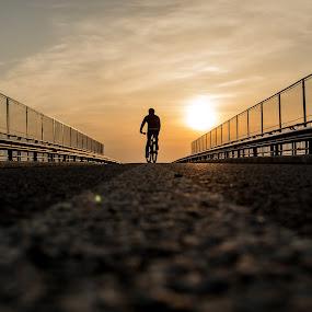 A cycler story by Jean Bogdan Dumitru - Sports & Fitness Cycling ( sunset, cycling, romania, bridge, road, evening )