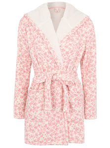 Floral Print Hooded Dressing Gown