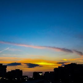 Sun goes down by Patricia Stanca - City,  Street & Park  Skylines ( #dusk, #romantic, #clouds, #light, #city, #skyline, #sun, #sunset, #beatiful, #summer, #contrast, #buildings )