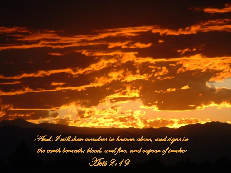 Acts 2:19 by Rob Bradshaw - Typography Captioned Photos ( sunset, scripture, illustration, colorado, acts 2:19, bible verses, captioned photos, highlands ranch, typography, the return,  )