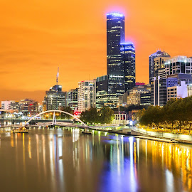 Melbourne city lights by Cristian ૐ Ruboni - City,  Street & Park  Skylines ( clouds, cool, cityscapes, melbourne, metropolitan, storm, landscape, city, lights, urban, night, light, nightscapes, rain, city at night, street at night, park at night, nightlife, night life, nighttime in the city )