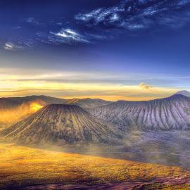 Bromo Mountain by Suloara Allokendek - Landscapes Mountains & Hills ( mountain, gold, morning, light, misty )