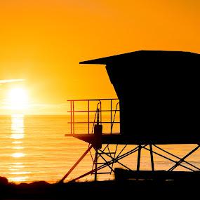 Sunset in Carlsbad by Mariusz Murawski - Landscapes Sunsets & Sunrises ( clouds, sky, sunset, california, ocean, carlsbad, beach, lifeguard tower )
