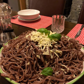 Bowl of spaghetti cooked in red wine by Annalie Coetzer - Food & Drink Plated Food ( bowl, italian, red wine, spaghetti, food, cheese, pasta )
