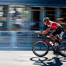 Riding Fast by Garry Dosa - Sports & Fitness Cycling ( panning, racing, outdoors, tour de white rock, men, action, blur, competitive, cycling, bicycles, people, male )