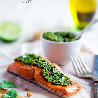 Baked Salmon with Asian Cilantro Pesto {Super Simple}