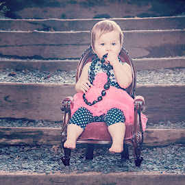 Princess's chair by Jenny Hammer - Babies & Children Babies ( chair, stairs, girl, baby, toddler, cute )