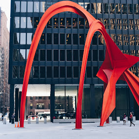 calder by Valentina Cantera - Buildings & Architecture Other Exteriors ( public art, steel, public work, usa, offices, calder red, illinois, facade, office, public space, building, red, kluczynski federal building, united states of america, stationary, loop, design, installation, dynamic, tall, hard, modern building, chicago, architecture, constructivist movement, glass, spculture, black, artistic, sculpture, abstract, creative, flamingo, underneath, outdoor, mies van der rohe, alexander calder, federal plaza, contrast, iron, vermilion, mies, calder, arch, window, abstract structure, movement, colorful )