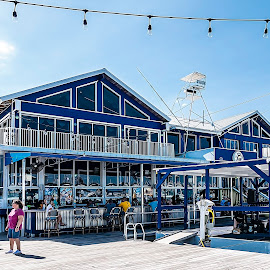 Twisted Tuna Restaurant, Port Salerno, FL by Sandy Friedkin - Buildings & Architecture Other Exteriors ( marina, on water, blue, restaurant, building )