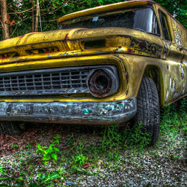 Old Yellow by Chris Cavallo - Transportation Automobiles ( patina, old car, rusty, yellow, rust, new hampshire, decay, abandoned )