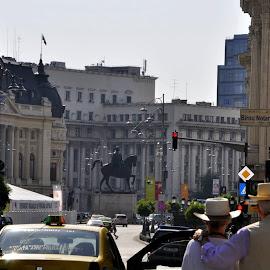 bucuresti, calea victoriei. by Mihai Nita - City,  Street & Park  Street Scenes ( statue, red-light, cars, street, buildings, trees, little paris, people, city )