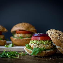 Turkey Burger by Andreea Diana Furnea - Food & Drink Cooking & Baking ( turkey burger, avocado, broccoliandmuffins, dark background, fast food, craving, dark backdrop )