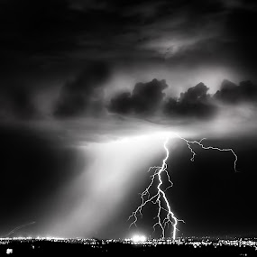 A Spark by Roch Hart - Landscapes Weather ( thunderstorms, lights, clouds, lightning, black and white, bw, roch hart, night, storms, storm, rain, city )