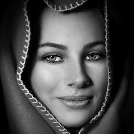 face frame by Chris O'Brien - Black & White Portraits & People ( girl, location, woman, beautiful, eyes )