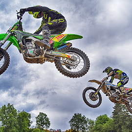 Chasing In The Air by Marco Bertamé - Sports & Fitness Motorsports ( chasing, speed, number, race, pursuit, jump, noise, 161, two, flying, motocross, air, high, duel, 84 )