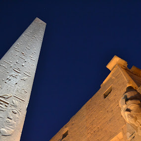 Ramses II & the obelisk by Mica Parada Larrosa - Buildings & Architecture Statues & Monuments ( temple, luxor, obelisk, night, karnak, egypt, ramses )