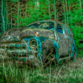 Creepy Car by Chris Cavallo - Digital Art Things ( rusty, decay, old car, abandoned, digital art, night photography )