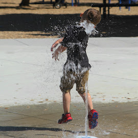 The Water Park by Sherri Woodbridge - Babies & Children Children Candids ( playing, child, water, oregon, jumping, park, medford, children, hawthorne )