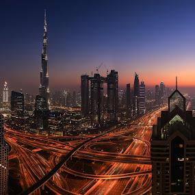 Dubai Dusk by Salman Ahmed - Buildings & Architecture Bridges & Suspended Structures ( highrise, dubai, uae, night, cityscape, burj khalifa, dusk )