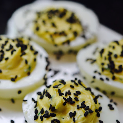 Horseradish and Black Sesame Seed Deviled Eggs