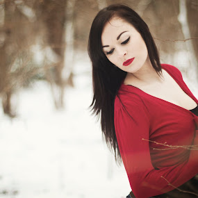 Snow White by Jennifer Marino - People Portraits of Women ( red, woman, snow, beauty, portrait, black )