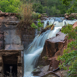 Broken Dam by Kathy Suttles - Buildings & Architecture Decaying & Abandoned ( escaping, falling, medicine park, upper dam, damaged, long exposure, oklahoma, suttleimpressions, water, post flooding, broken dam )