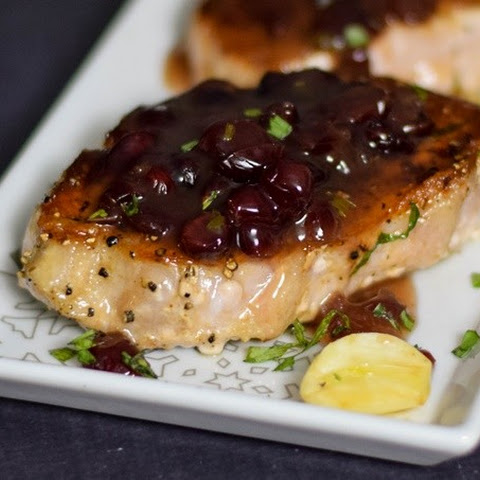 Pork Loin Steaks with Cranberry Tarragon Sauce
