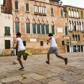 Street football in Venice by Diptarka Gupta - City,  Street & Park  Street Scenes ( football, street, venice, architecture, city )