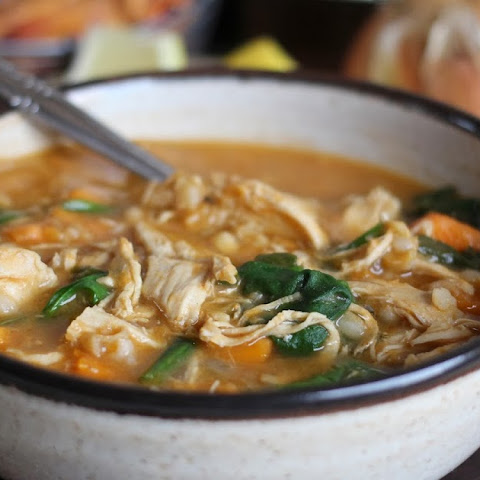 Spicy Chicken Rice Soup with Sweet Potato