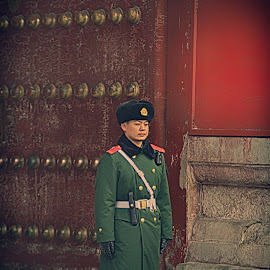 Solitaire by Francisco Little - City,  Street & Park  Historic Districts ( soldier, guard, forbiddencity, beijing, china )