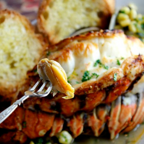 Broiled Lobster Tails with Manila Clams & Corn Sherry Cognac Lobster Broth with Tarragon & Parsley