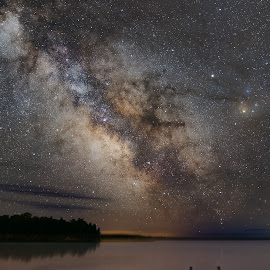 A Calm Summer Night in Northern Wisconsin by Andy Taber - Landscapes Waterscapes ( water, reflection, sky, stars, cosmos, night, lake, dock, milky way, galaxy )