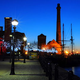 Salthouse Quay at Sunset by DJ Cockburn - City,  Street & Park  Night ( albert dock, harbour, transportation, cityscape, architecture, united kingdom, city, lights, england, merseyside, river mersey, transport, the pumphouse, evening, water, uk, building, albert dock traffic office, streetlight, liverpool, boat, urban, sunset, tall ship, night, canning dock, zebu, britain )
