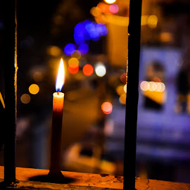 a candle on diwali night by Prabhat Kumar - Artistic Objects Other Objects ( candle, night, bokeh )