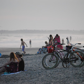 Beach  by Prentiss Findlay - City,  Street & Park  Vistas ( park, bikes, pier, ocean, beach )