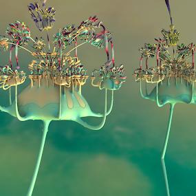 The Colors of Music by Glenda Popielarski - Illustration Abstract & Patterns ( m3d, colorful, abstract art, green, digital art, fractal art, mandelbulb 3d, mb3d, fractals, raw fractals )