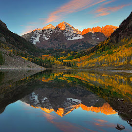Early Lights Over Maroon Bells Lake by Al Juniarsam  - Landscapes Mountains & Hills ( pwcautumn_dq )